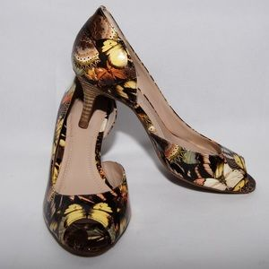 Black and yellow butterfly open toe d'orsays